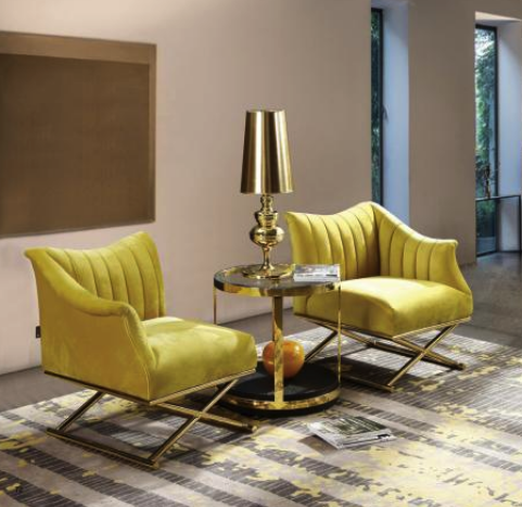Dietrich Set of 2 Brass Metal Yellow Velvet Occasional Chairs