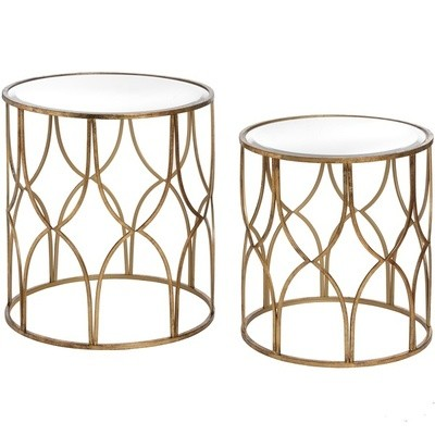 Lattice Set Of Two Gold Side Tables