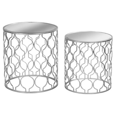 Set of Two Silver Foil Mirrored Side Tables