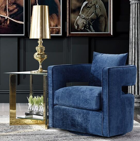 Navy Blue Turner Lux Single Seater Sofa