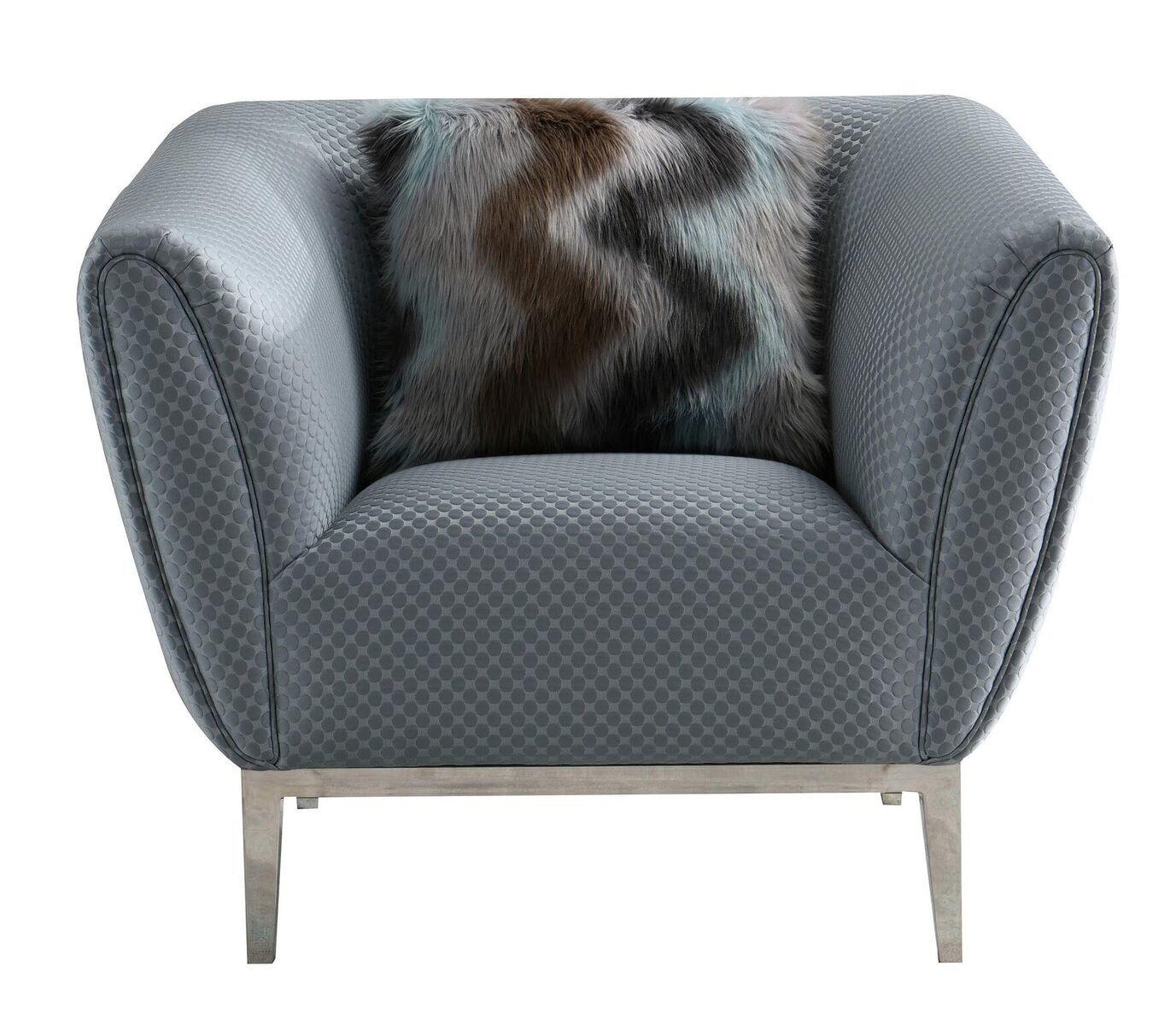 Grey Circle Stitch Sofa Chair