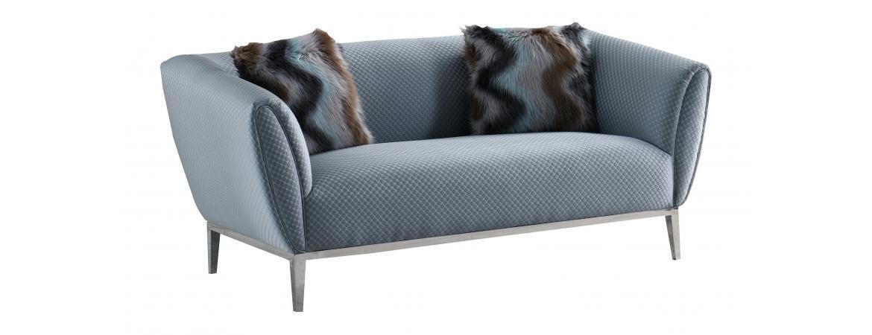 Grey Circle Stitch Two Seater Sofa