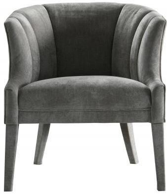 Curved Padded Grey Ribbed Armchair