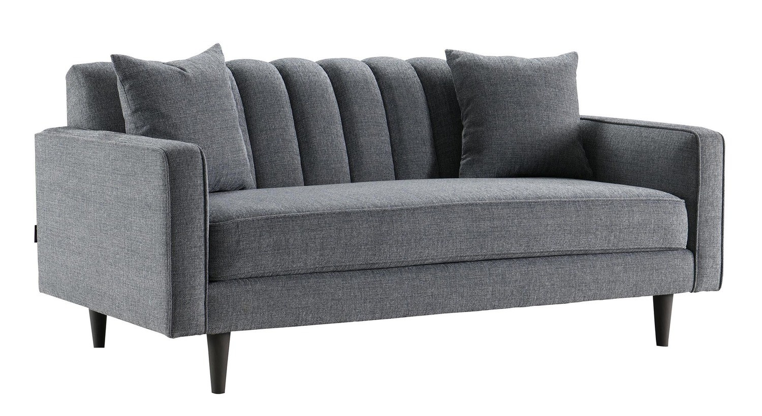 Grey Ribbed Two Seater Sofa