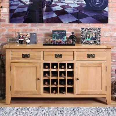 Oak Wood Wine Triple Drawer Double Door Sideboard
