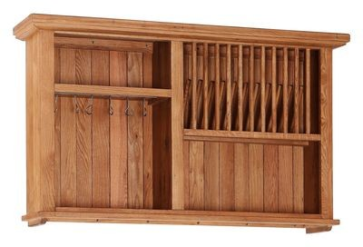 Oak Open Shelf Wall Cabinet with Wine Rack