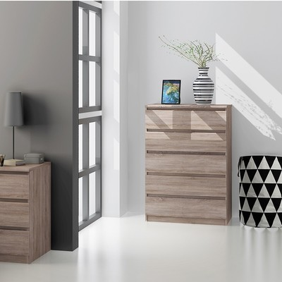 Naia Oak Chest of 5 Drawers