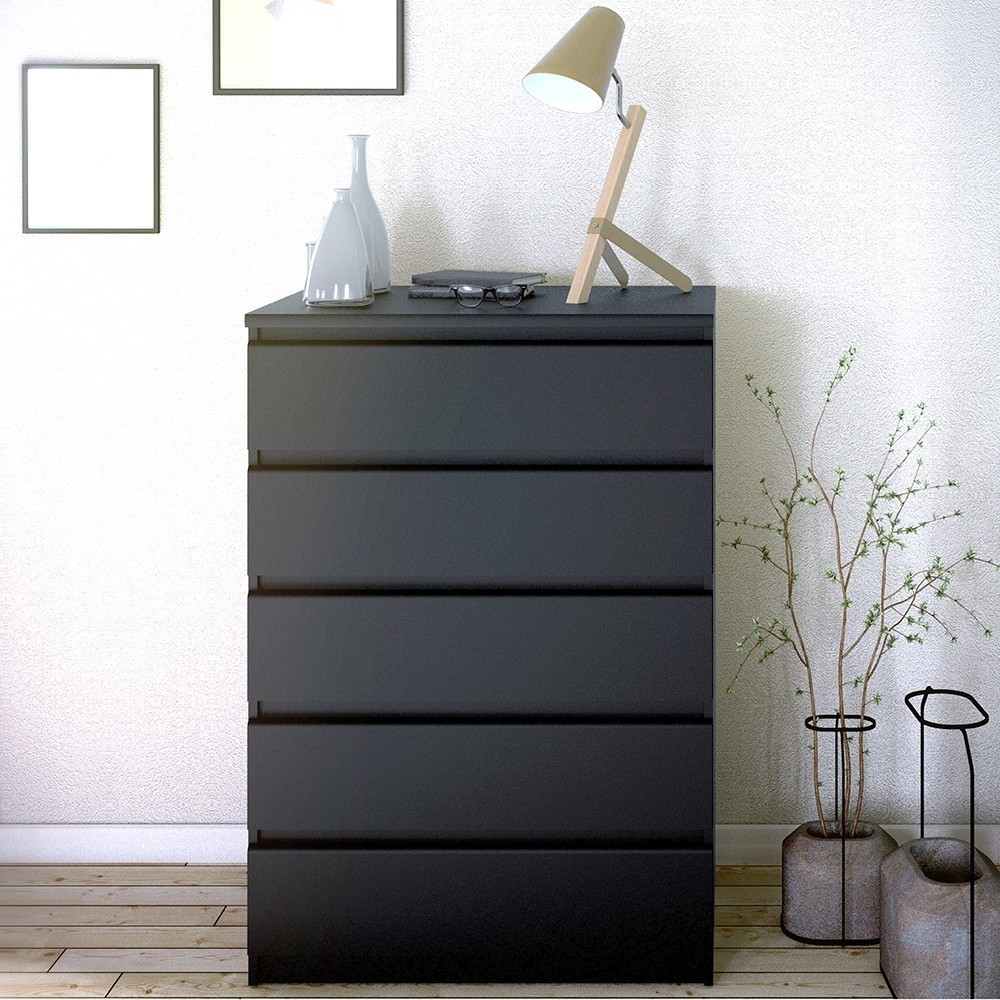 Naia Black Chest of 5 Drawers