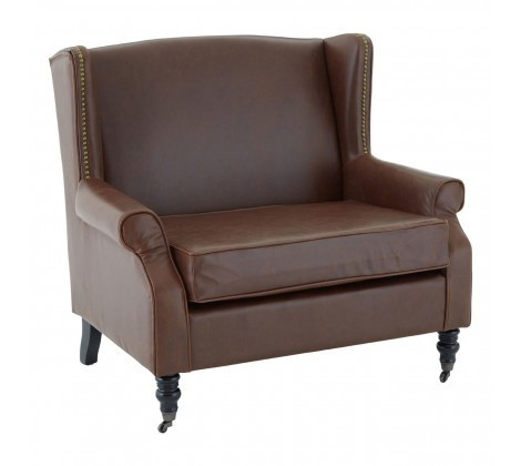 Brown Fulham Double Wing Armchair