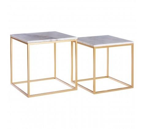 Marble Topped Set of 2 Cuboid Avantis Side Tables