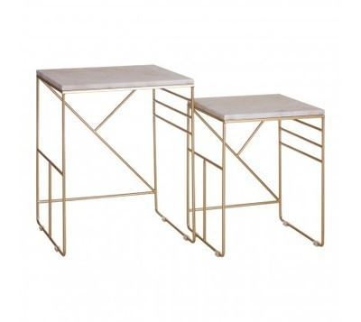 Marble Topped Set of 2 Square Avantis Side Tables