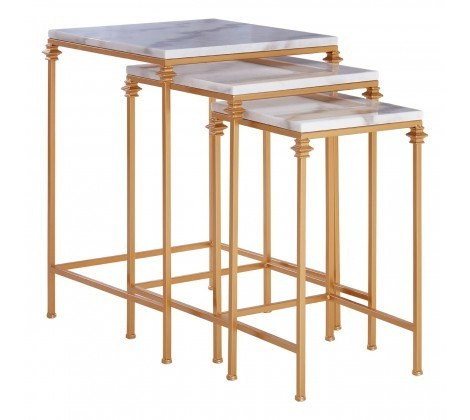 Marble Topped Set of 3 Square Avantis Side Tables
