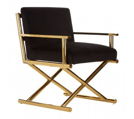 Hendricks Black & Gold Crossed Legs Velvet Armchair