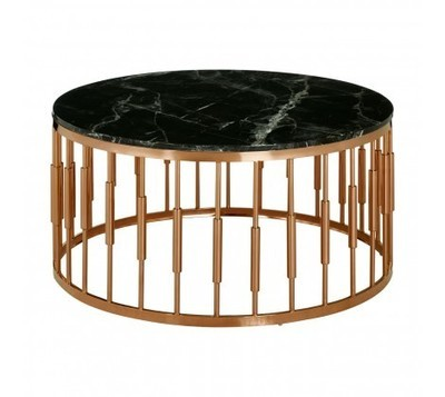 Alvaro Rose Gold Frame Black Marble Top Coffee Table
