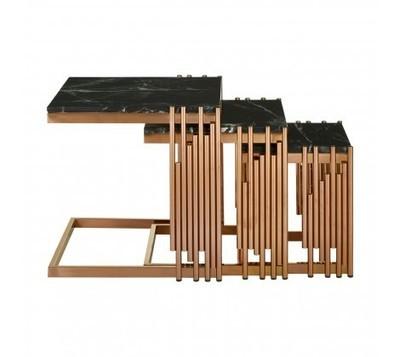 Alvaro Nest Of 3 Steel Framed Square Tables