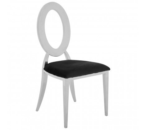 Yasmin Silver Steel Round Back Dining Chair