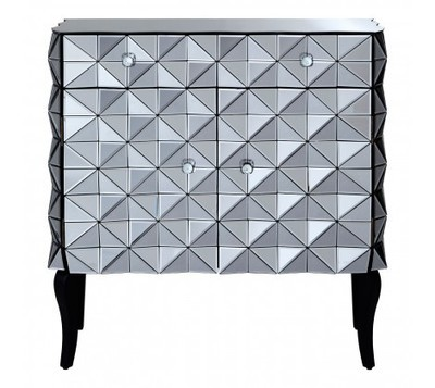 Soho Silver 3D Mirrored Glass Cabinet
