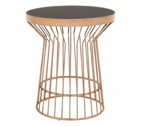 Alvaro Copper Round Side Table with Black Marble Top