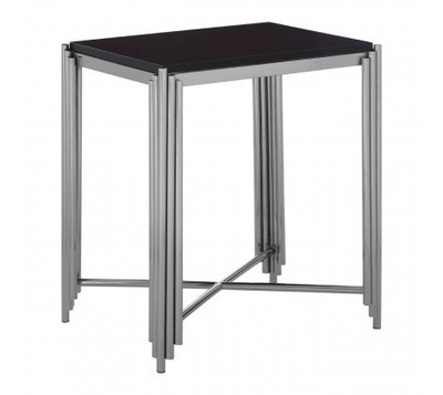 Clarice Silver Metal and Black Granite Square Side Table