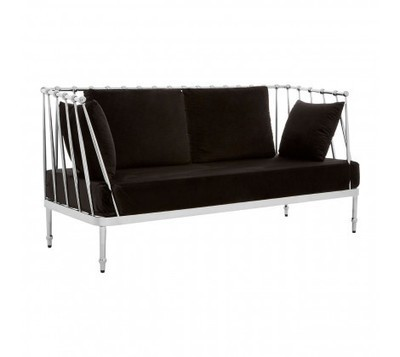 Novo 2 Seater Black Fabric Silver Finish Tapered Sofa
