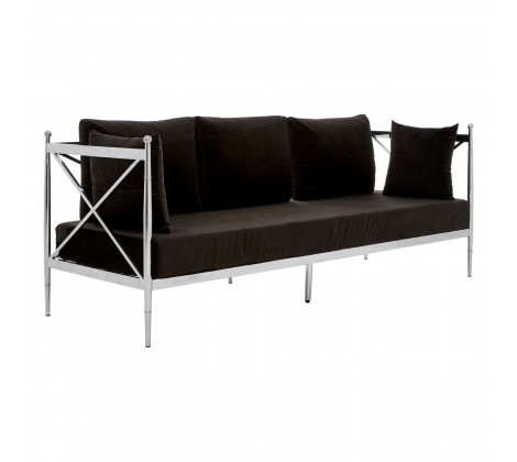 Novo Black Velvet 3 Seater Sofa with Silver Lattice Arms