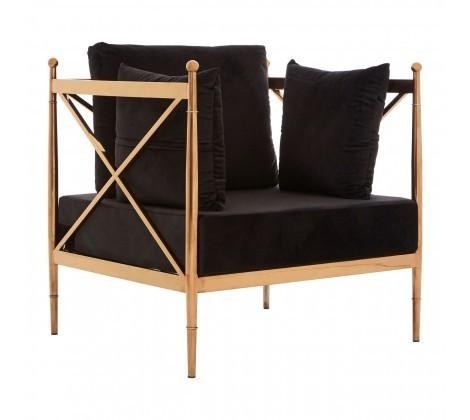 Novo Black Velvet Chair with Rose Gold Lattice Arms