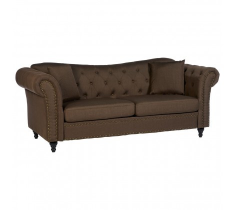 Fable 3 Seater Natural Fabric Chesterfield Sofa