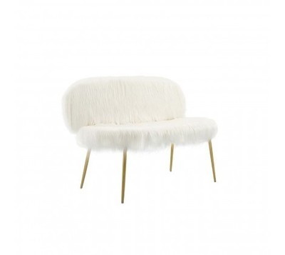 Sienna Faux Fur White Sofa with Gold Legs