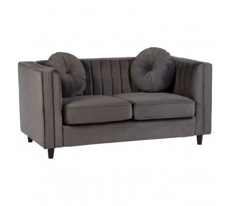 Farah 2 Seater Grey Velvet Sofa
