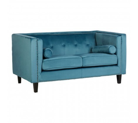 Felisa Blue Velvet Tufted Studded 2 Seater Sofa