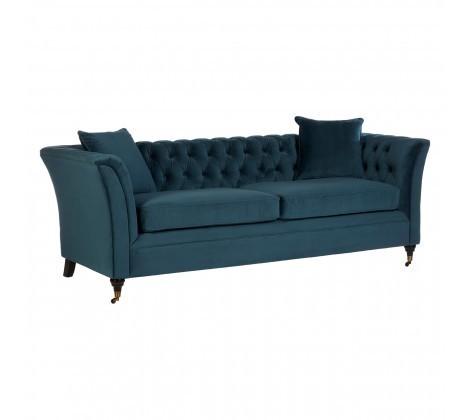 Sabrina Blue Fabric Buttoned 3 Seater Sofa
