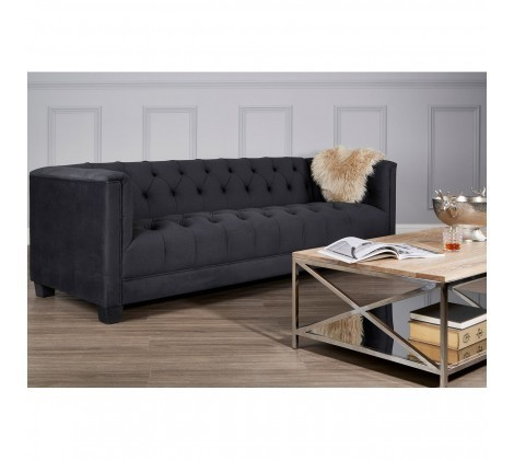Reagan Buttoned Dark Grey Velvet 3 Seater Sofa