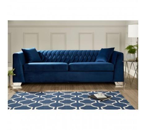 Rashika Luxury Dark Blue Velvet 3 Seater Sofa