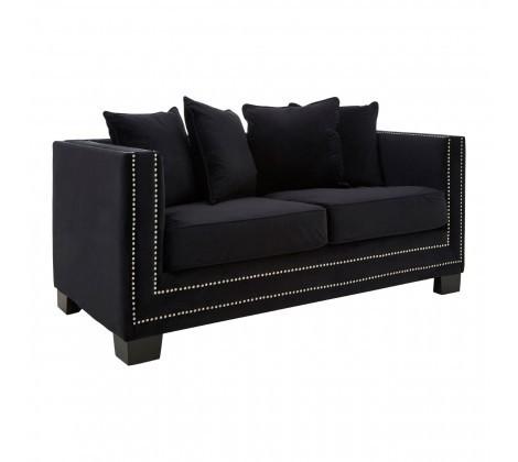 Modern Sofia 2 Seater Black Velvet Sofa
