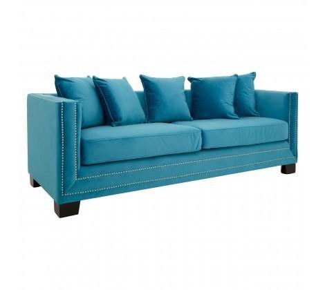 Modern Sofia 3 Seater Cyan Blue Velvet Sofa