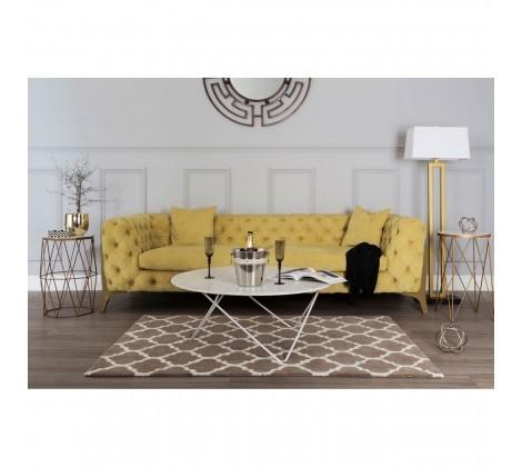 Esme Tufted Button Yellow Fabric 3 Seater Sofa