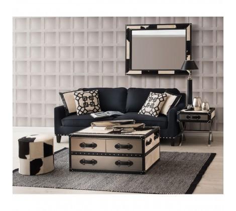 Regents Park Stud Black 3 Seater Sofa