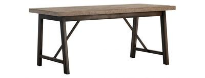 Forge Iron and Weathered Oak Dining Table