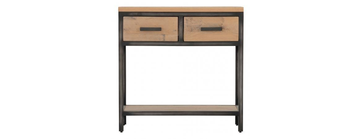 Forge Iron and Oak Double Drawers Single Shelf Hall Table