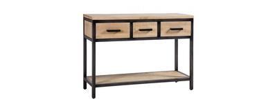 Forge Iron and Oak 3 Drawers Single Shelf Hall Table