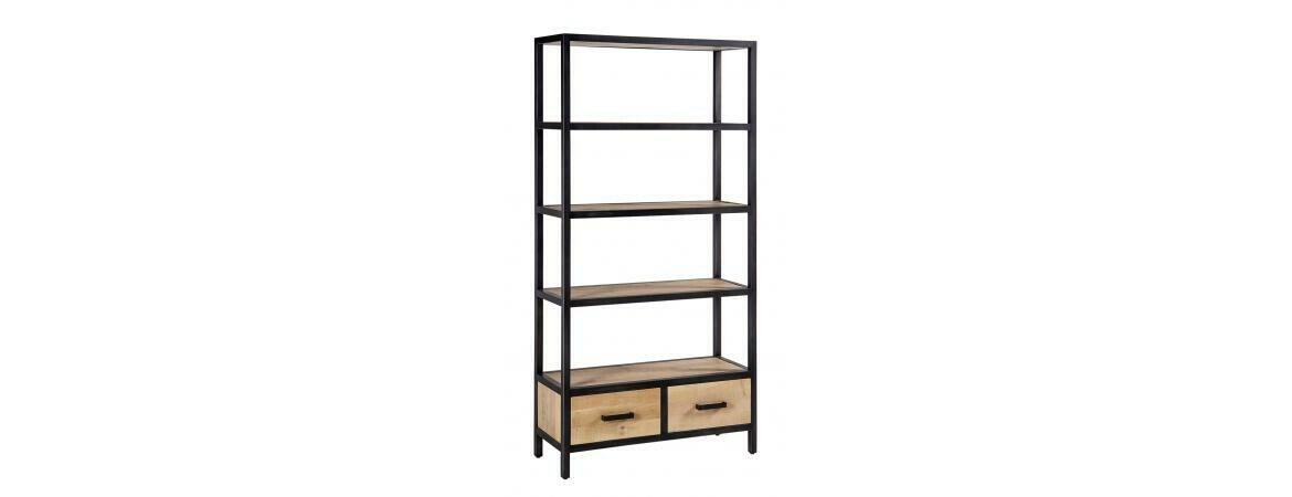 Forge Iron and Oak 2 Drawer Bookcase
