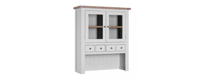 Chalked Oak & Light Grey Double Door 4 Drawer Hutch