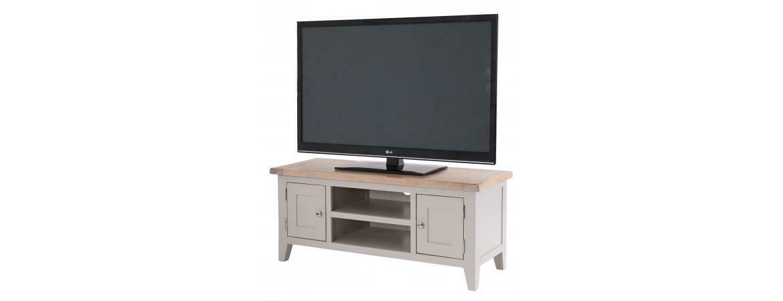 Chalked Oak & Light Grey Double Door TV Unit