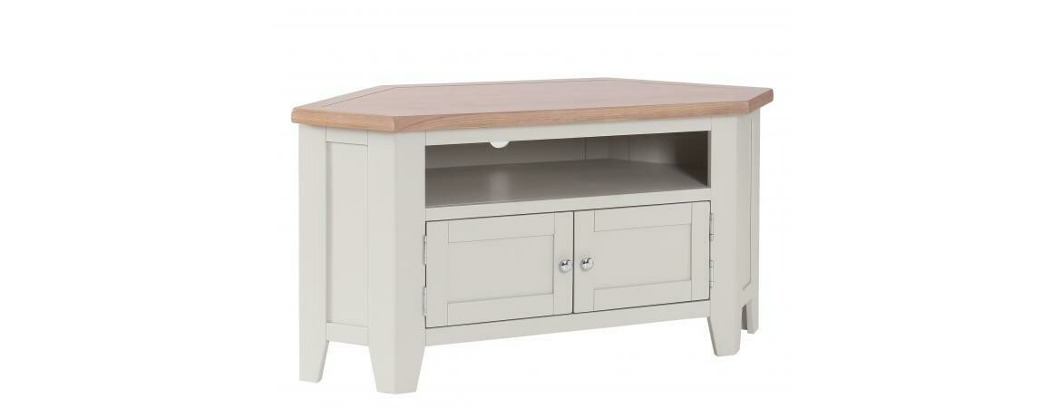 Chalked Oak & Light Grey 2 Door 90 Degree Corner TV Unit