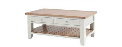 Chalked Oak & Light Grey Double Drawer Rectangular Coffee Table