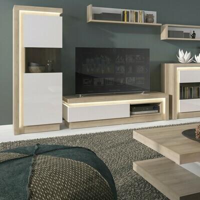 1 Drawer TV Cabinet with Open Shelf in Oak & White