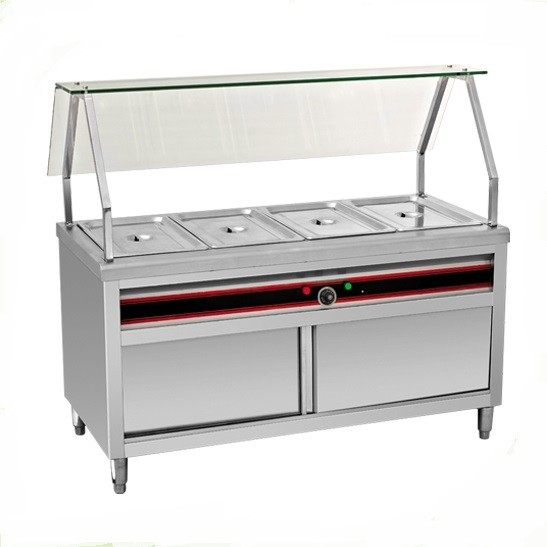 BAIN MARIE 4 X 1 / 1 : WITH CABINET & GLASS