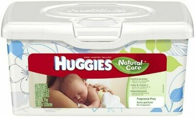 39301 HUGGIES NAT CARE FF BABY WIPES 64/TUB 4/CASE