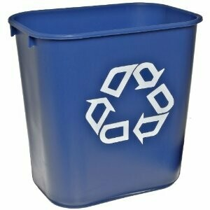 FG295573BLUE WASTEBASKET SMALL DESKSIDE RECYCLING CONTAINER 12/CS BLUE