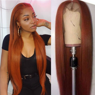 Custom color burnt  ginger Lace Frontal 13x4 Straight Custom Made Wig